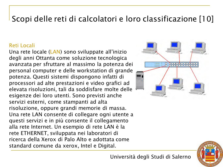 Scopi delle reti di calcolatori e loro classificazione [10]